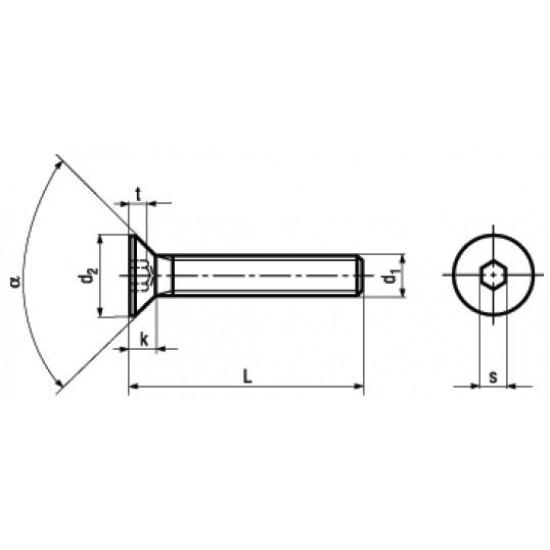 Microviti Testa Svasata Piana con Esagono Incassato, Interamente Filettate DIN 7991 ISO 10642