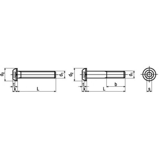 Microviti Testa a Bottone ed Esagono Incassato Parzialmente / Interamente Filettata ISO 7380-1